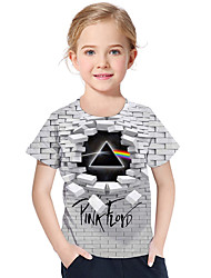 abordables -Enfants / Bébé Fille Actif / Basique Géométrique Imprimé Manches Courtes Polyester / Spandex Tee-shirts Gris Clair