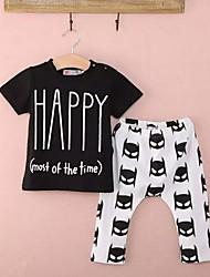 levne -Dítě Chlapecké Aktivní / Základní Geometrický / Tisk Tisk Krátký rukáv Standardní Standardní Bavlna / Polyester Sady oblečení Černá