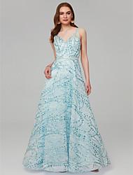 Χαμηλού Κόστους -Γραμμή Α Λαιμόκοψη V Μακρύ Με πούλιες Φανταχτερό Επίσημο Βραδινό Φόρεμα με Πούλιες / Ζώνη / Κορδέλα με TS Couture®