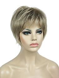 저렴한 -인조 합성 가발 직진 스타일 픽시 컷 캡 없음 가발 블론드 Kanekalon 6 인치 여성용 합성의 블랙 - 금발 가발 짧음 130 % 인간의 머리카락 밀도 내츄럴 가발
