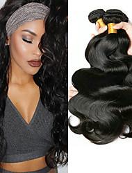 billige -4 pakker Indisk hår Krop Bølge Ubehandlet Menneskehår 100% Remy Hair Weave Bundles Hovedstykke Bundle Hair Hårforlængelse af menneskehår 8-28 inch Naturlig Farve Menneskehår Vævninger Let at bære