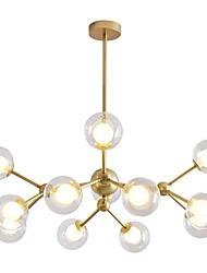 Недорогие -12-головочная люстра в скандинавском стиле, стеклянные молекулы, подвесные светильники, гостиная, спальня, столовая, окрашенная отделка.