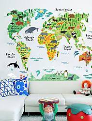 Недорогие -Декоративные наклейки на стены - Наклейки для животных Карты Гостиная / В помещении