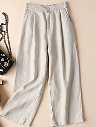 Недорогие -Жен. Классический Широкие Брюки - Однотонный Лён Черный Белый Хаки S M L