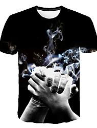 abordables -Hombre Estampado Camiseta Bloques / 3D / Caricatura Negro XXXXL