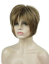 halpa -Synteettiset peruukit Suora Tyyli Sivuosa Suojuksettomat Peruukki Vaaleahiuksisuus Keskipitkä ruskea / vaalea blondi Synteettiset hiukset 8 inch Naisten synteettinen Vaaleahiuksisuus Peruukki Lyhyt