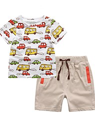cheap -Kids / Toddler Boys' Active / Street chic Geometric / Color Block / Cartoon Print Short Sleeve Short Short Cotton / Spandex Clothing Set White
