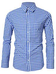 Недорогие -Муж. Рубашка В клетку Синий / Длинный рукав