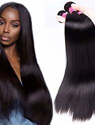 tanie -4 zestawy Włosy brazylijskie Prosta Nieprzetworzone włosy naturalne Fale w naturalnym kolorze Pakiet włosów Doczepy z naturalnych włosów 8-28 in Kolor naturalny Ludzkie włosy wyplata Bezzapachowy