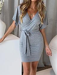 abordables -Mujer Boho Elegante Vaina Vestido Un Color Sobre la rodilla