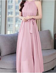 hesapli -Kadın midi gevşek salıncak elbise kare boyun mor allık pembe beyaz bir boyut