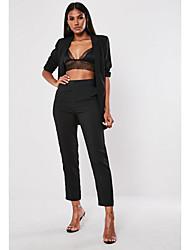 levne -Dámské Šik ven Kalhoty chinos Kalhoty - Jednobarevné Černá