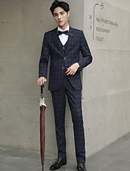 billige -Svart / Navyblå / Marineblå rutete Slank Fasong Polyester Dress - Med hakk Enkelt Brystet To-knapp