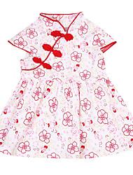 abordables -bébé Fille Actif / Chinoiserie Fleur Brodée Manches Courtes Coton Robe Rose Claire