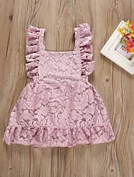 levne -Dítě Dívčí Cikánský Jednobarevné Bez rukávů Bavlna Šaty Světlá růžová