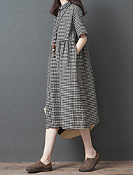 7a51f7c6 billige -Dame Vintage Skjorte Kjole - Rutet, Lapper Midi