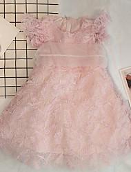 お買い得  -子供 女の子 ソリッド レース ドレス ピンク