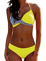 voordelige -Dames Standaard Zwart Geel Fuchsia Bandeau Boy Leg Bikini Zwemkleding - Effen Blote rug XL XXL XXXL Zwart