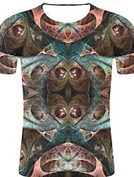 お買い得  -男性用 プリント Tシャツ パンク&ゴシック / 誇張された 3D / 虹色 / グラフィック ライトブラウン XXL