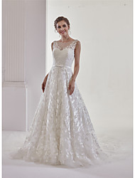 cheap -A-Line Bateau Neck Chapel Train Lace / Tulle Made-To-Measure Wedding Dresses with Beading / Appliques / Bow(s) by ANGELAG