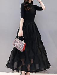halpa -naisten midi löysä keinu mekko musta navy sininen s m l xl