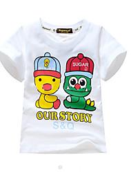 billige -Børn Drenge Basale Trykt mønster Trykt mønster Kortærmet Bomuld / Spandex T-shirt Hvid