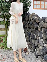 halpa -naisten midi löysä sifonki mekko sifonki valkoinen vaaleanvihreä yksi koko
