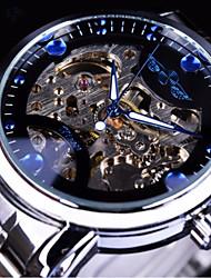 Недорогие -WINNER Муж. Механические часы С автоподзаводом Серебристый металл / Золотистый С гравировкой Повседневные часы Крупный циферблат Аналоговый Мода Скелет - Белый Черный Синий