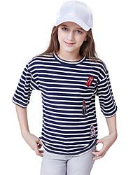 お買い得  -子供 女の子 活発的 / ベーシック ストライプ 半袖 コットン Tシャツ ブルー