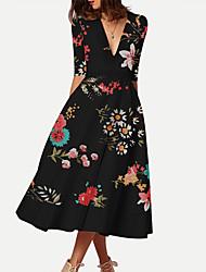 billige -kvinners midi slank swing kjole dyp v hvit svart s m l xl