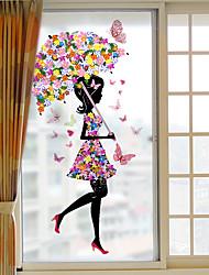 Недорогие -цветочная девушка съемная оконная пленка пвх&Усилитель стикеров украшения геометрический