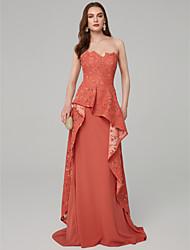 Χαμηλού Κόστους -Γραμμή Α Στράπλες Μακρύ Δαντέλα / Ζέρσεϊ Επίσημο Βραδινό Φόρεμα με Βολάν με TS Couture®