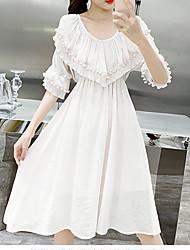 hesapli -Kadın diz boyu gevşek salıncak elbise haki beyaz s m l xl