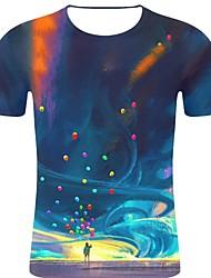 voordelige -Heren Rock / overdreven Print T-shirt 3D / Regenboog / Grafisch blauw XXL