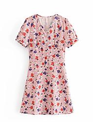 billige -Kvinners over kneskjede kjole v nakke rødblå s m l