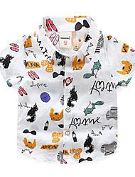 abordables -Enfants Garçon Basique / Chic de Rue Imprimé Imprimé Manches Courtes Coton Chemise Blanc