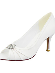 cheap -Women's Wedding Shoes Stiletto Heel Peep Toe Rhinestone / Sparkling Glitter Satin Minimalism Spring &  Fall White / Blue