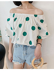 billige -Dame - Ensfarvet / Prikker T-shirt Hvid US10