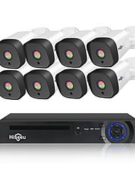Недорогие -Hiseeu 8-канальный 1080p PoE NVR видеонаблюдения системы безопасности 4 шт. 2.0-мегапиксельная аудиозапись ip-камера ик p2p наружного видеонаблюдения комплект 1 ТБ HDD