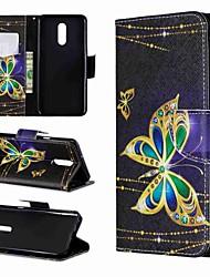 Недорогие -Кейс для Назначение LG LG Stylo 4 / LG Stylo 5 / LG K10 2018 Кошелек / Защита от удара / со стендом Чехол Бабочка Твердый Кожа PU