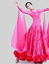저렴한 -볼륨 댄스 드레스 여성용 트레이닝 / 성능 튤 / 아이스 실크 스플리트 조인트 / 크리스탈 / 라인석 긴 소매 드레스