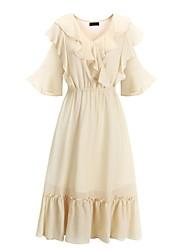 abordables -Mujer Básico Línea A Vestido - Plisado, Un Color Hasta la Rodilla