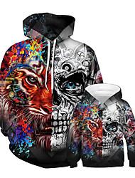 Недорогие -Папа и я Панк & Готика Контрастных цветов Пэчворк Длинный рукав Обычный Обычная Худи / толстовка Черный
