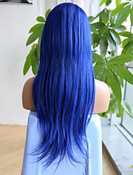 halpa -Aidot hiukset 6x13 Sulkumekanismi Peruukki Epäsymmetrinen leikkaus Syvä hajoaminen Vapaa osa tyyli Brasilialainen Luonnollinen suora Sininen Peruukki 150% Hiusten tiheys ja vauvan hiukset