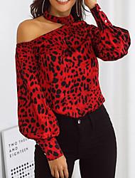baratos -Mulheres Camiseta Leopardo Vermelho US2