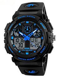 Недорогие -SKMEI Муж. Нарядные часы Кварцевый силиконовый Черный 50 m Защита от влаги Секундомер Фосфоресцирующий Аналого-цифровые На открытом воздухе Мода - Красный Синий Светло-Зеленый / Два года