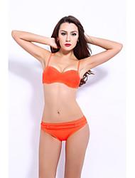 billige -Dame Orange Lyserød Marineblå Tankini Badetøj - Ensfarvet M L XL Orange