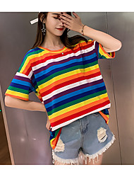 preiswerte -Damen Regenbogen - Grundlegend T-shirt Patchwork Rosa US14