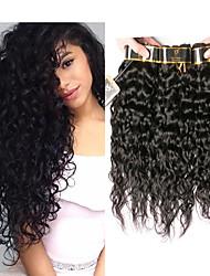 Недорогие -4 Связки Перуанские волосы Волнистые Необработанные натуральные волосы Человека ткет Волосы Пучок волос Накладки из натуральных волос 8-28 дюймовый Естественный цвет Ткет человеческих волос