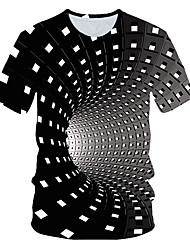Недорогие -Муж. Размер ЕС / США - Футболка Круглый вырез Классический Геометрический принт / 3D Цвет радуги / С короткими рукавами